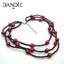 Dandie Fashion Red Black Acrylic Bead Necklace, Handmade Two Layer Necklace Jewelry New Arrival