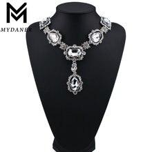 Женское Ожерелье чокер с белыми кристаллами в форме капли