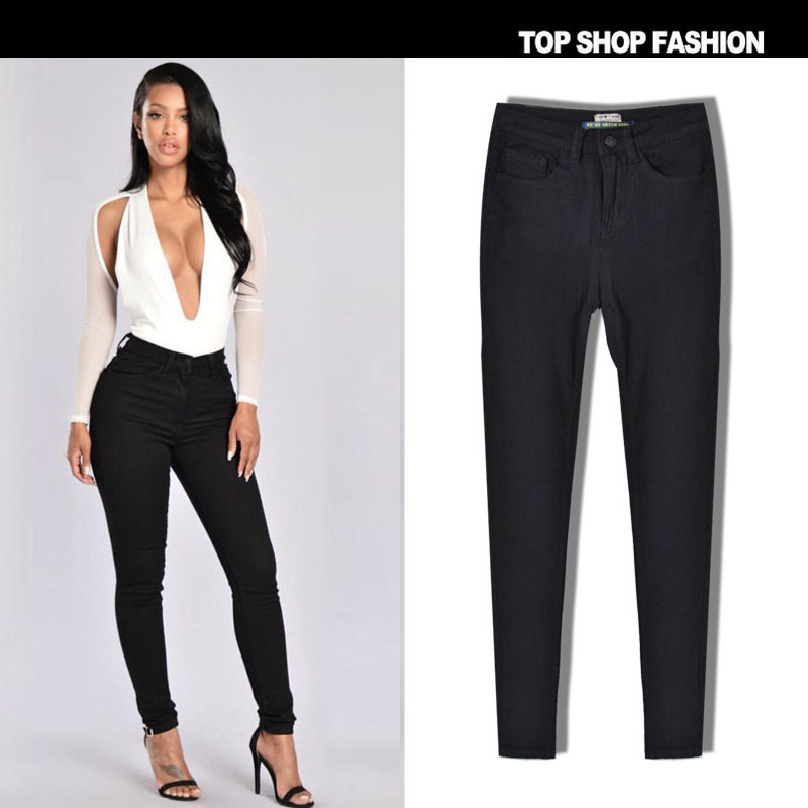 Liva Girl Autumn Winter New Arrival Women Jeans With High Waist Sexy Slim Black Color Stretch