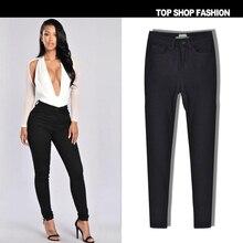 ЛИВА девушка осень-зима Новинка женские джинсы с Высокая Талия пикантные тонкий черный цвет эластичного денима плюс размер карандаш брюки