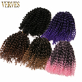 Synthetic Kinky Twist Crochet Braids Hair 8 inch Kinky 9 piece VERVES 30g/pcs Ombre braiding hair curly Crochet Hair Extensions