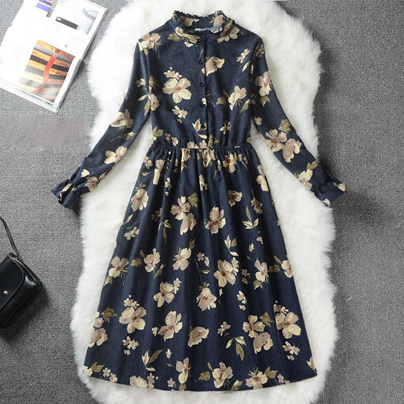 Вельветовое винтажное платье с высокой эластичной талией, ТРАПЕЦИЕВИДНОЕ Стильное женское платье с длинным рукавом, с цветочным принтом, в клетку, приталенное весеннее платье, 10 цветов