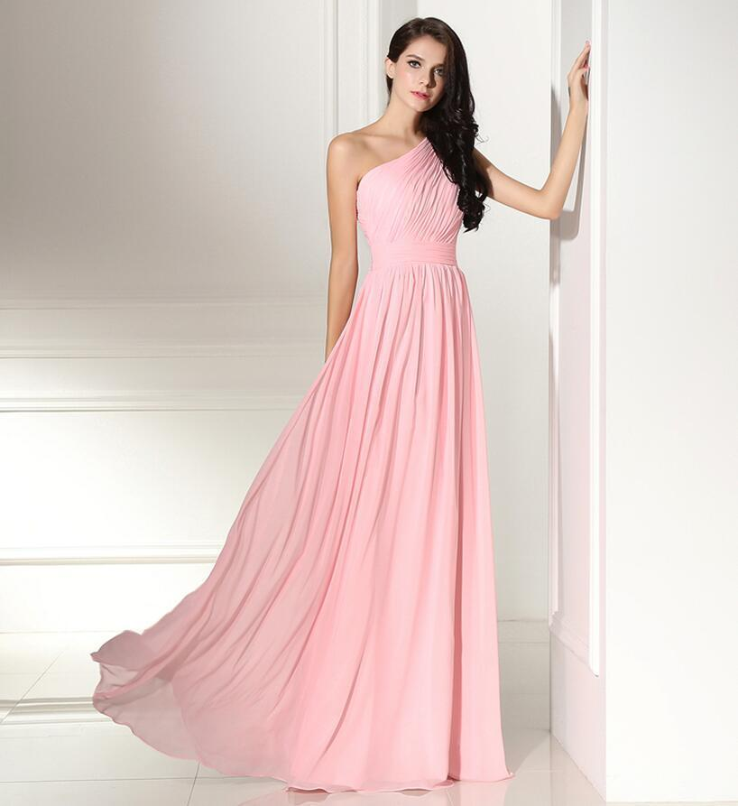 Cheap In Stock Pink Bridesmaid Dress New Arrival Shoulder