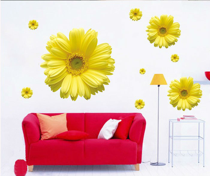 Flowers home decor wall stickers for kids rooms bathroom glass mirror design wall art decals diy - Flowers for home decor photos ...