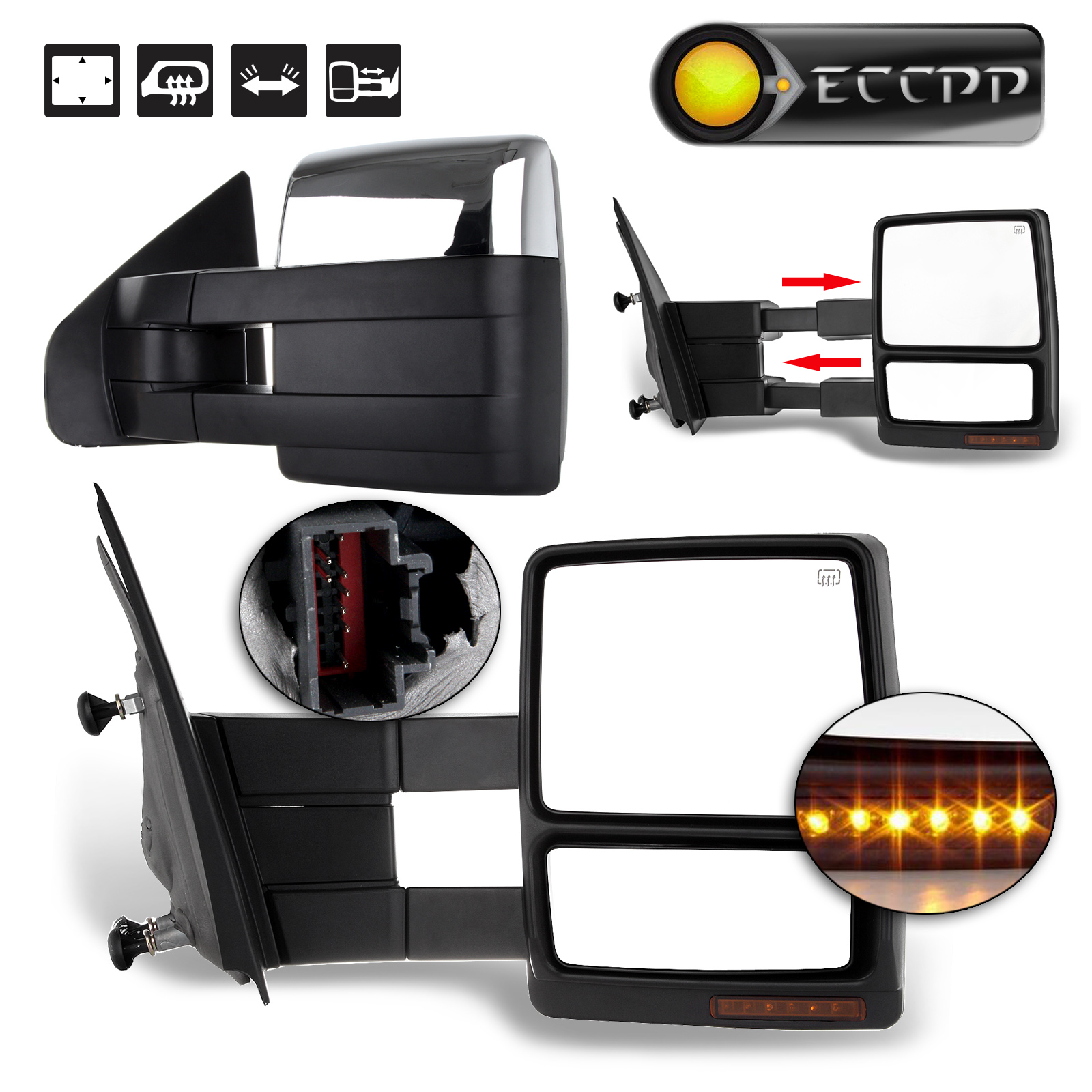Eccpp power heated mirror ford 2004 2005 2006 2007 2008 2009 2010 2014 ford f 150 led signal side view chrome towing mirrors