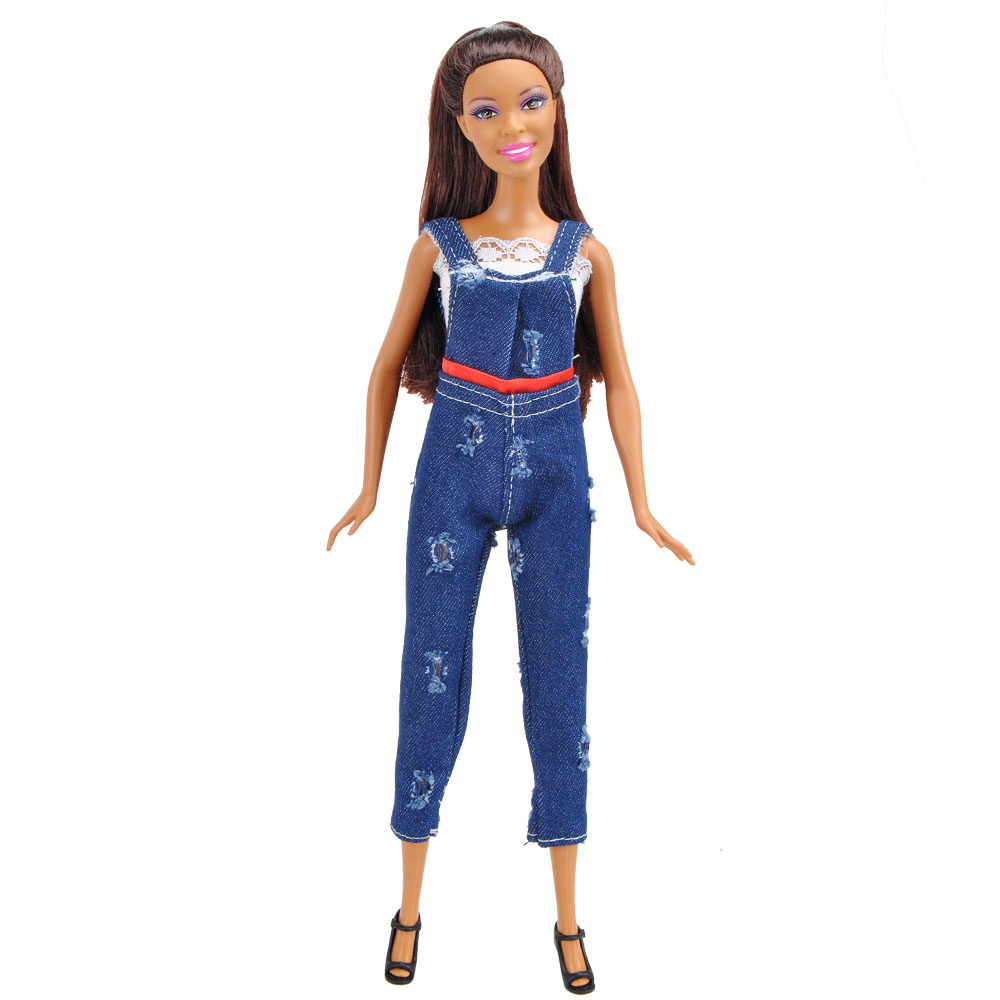 E-TING Doll Clothes Fashion Shirt Dark Blue Jeans Denim Jumpsuit Overalls Casual Summer Girls Suit For Barbie Doll Accessories dark blue doll collar pleated dress