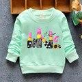 3-5 anos Meninas Hoodies Do Bebê camisola menina moda Yellow & Green cor ternos do esporte da menina polares longo manga