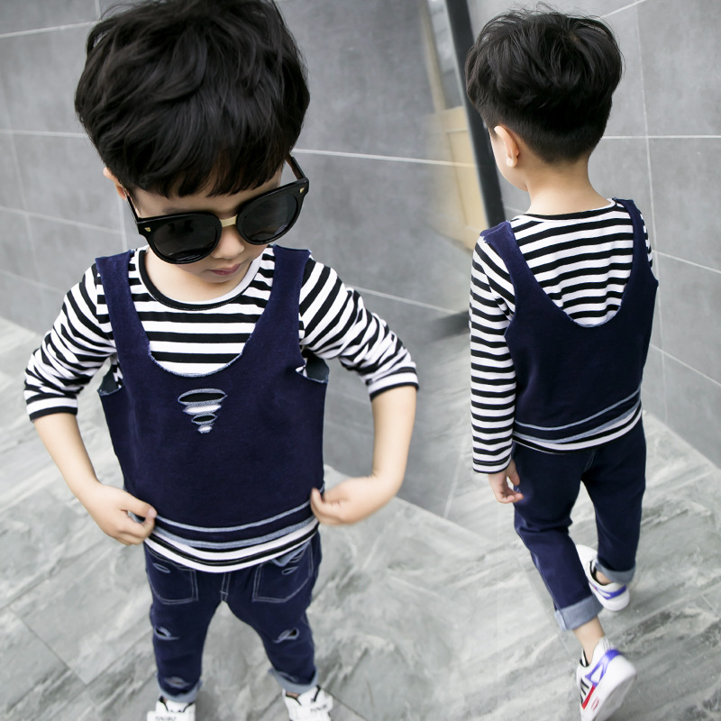 New autumn kids boy's 3pcs vest + t-shirt + pants set children clothing sets baby boys long sleeve striped top holes outwear hot new baby girls hello kitty clothing sets kids autumn character cotton long sleeve shirt pants 2 piece children clothing set