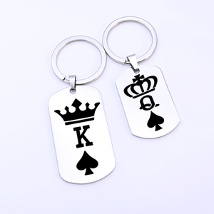 Fashion Stainless Steel Dog Tag Crown King Queen Poker Spades K Q Pendants Couples Friends gift Keychain(China)