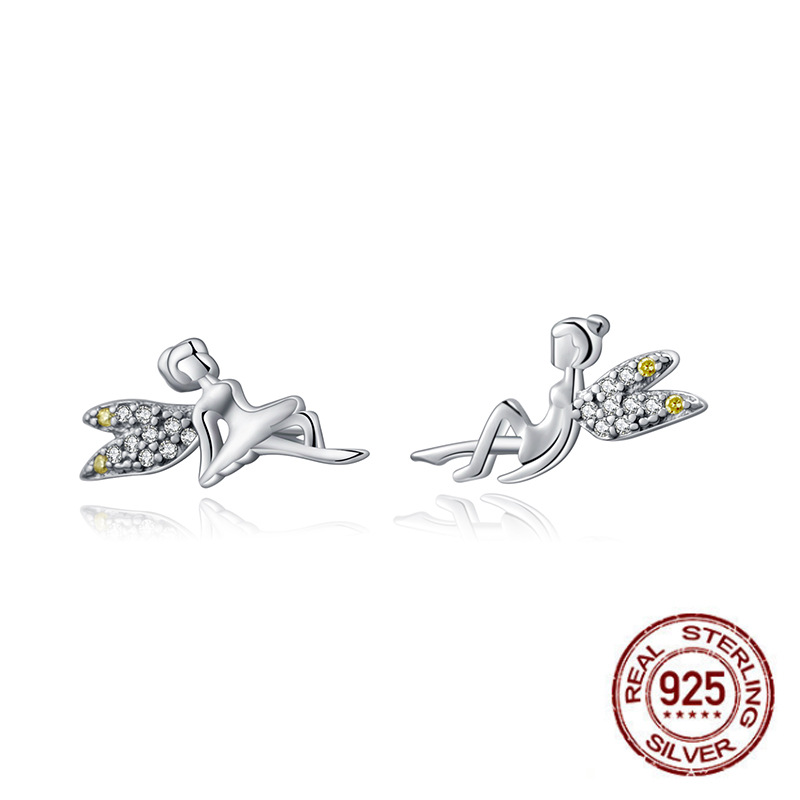 Cute Genuine 925 Stamp Sterling Silver Earrings Fashion Fairy Wings Elevs Exquisite Stud Earrings For Women Party Jewelry