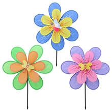 Hot Sale Double Layer Flower Windmill Colorful Wind Spinner Yard Garden Decor Kids Toy