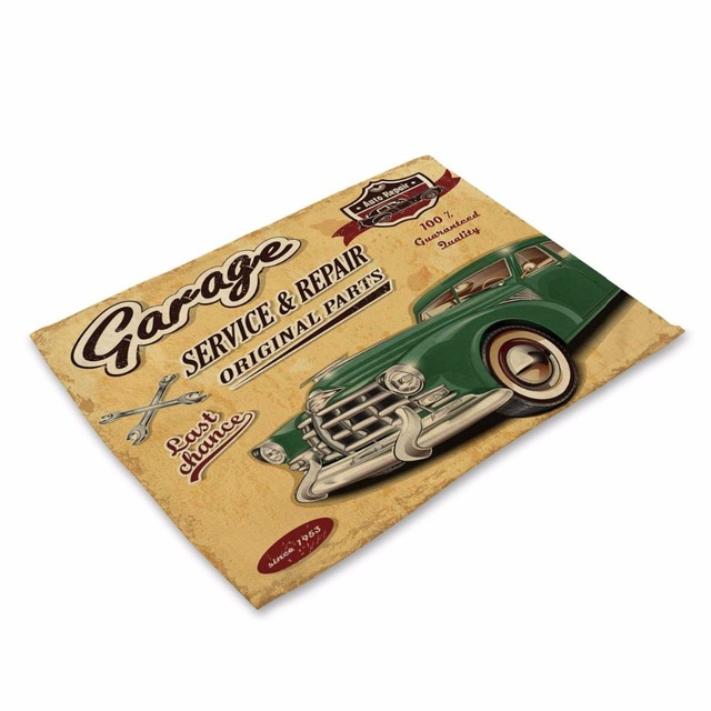 Retro Car Patterned Table Mat