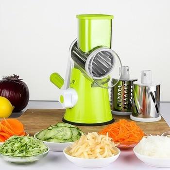 Multifunctional Vegetable Shredder Hand Drum Rotary Grater Shred Potato Slicer Roller Shape Stainless Steel Crank Handle Food Processors