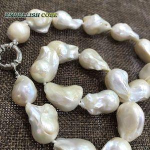 Image 5 - 販売のウェル白色色大サイズの有核炎ボール形状バロックパールネックレス淡水 100% 天然真珠