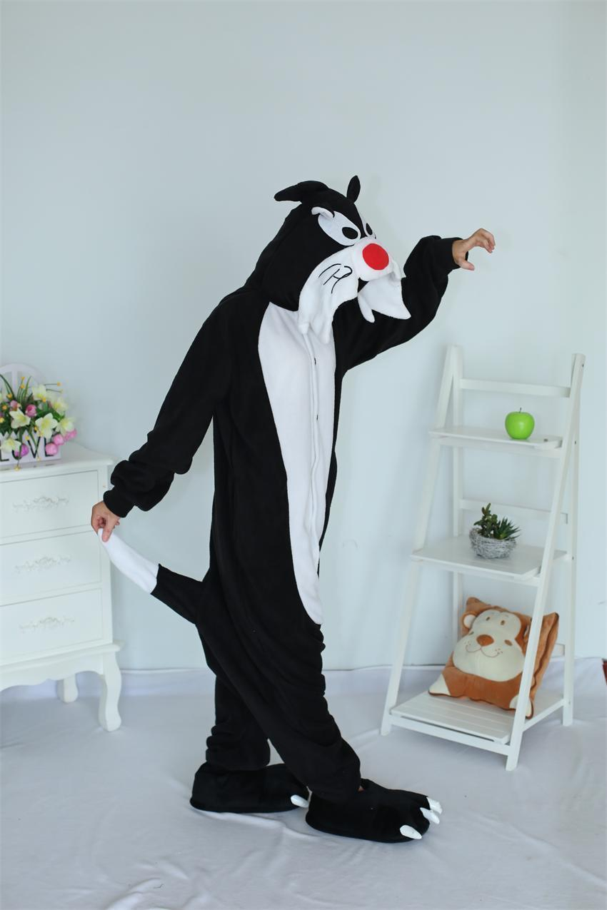 Unisex Animal Serventi Black Wolf Pigiama Cosplay Costume Adulto Tutina Donna Pigiama da uomo Sleepwear Party Sleepsuit