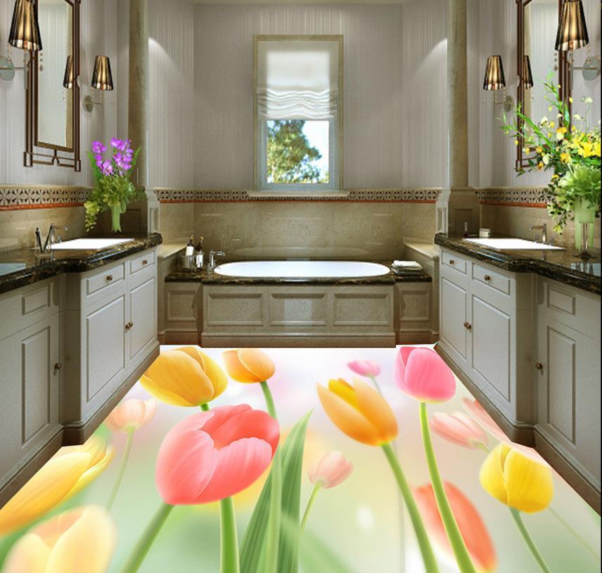 3d floor painting wallpaper lily 3d stereo flooring - Waterproof floor paint for bathrooms ...