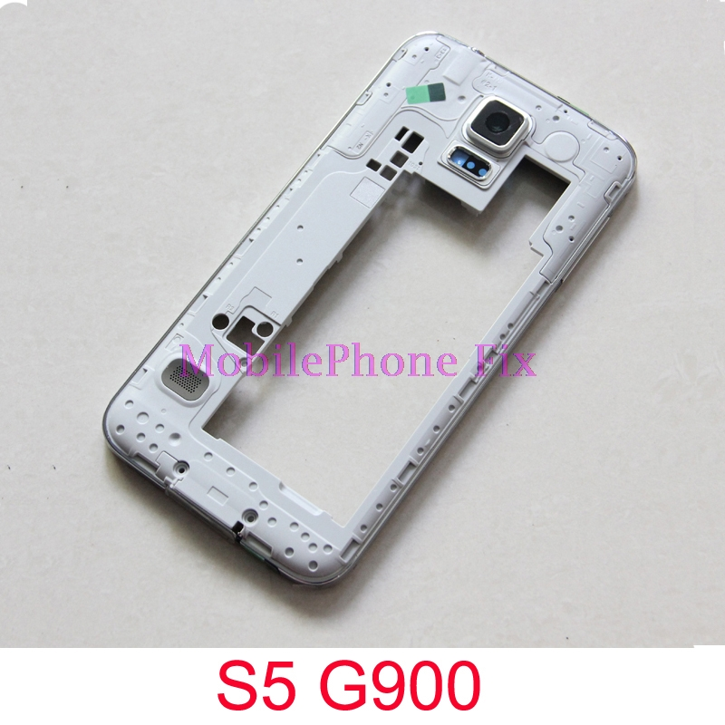 10 PCS For Samsung Galaxy S5 G900F/H/P/M/T Middle Frame Housing Frame Bezel Chassis + Glass Camera Lens + Buttons + Loudspeaker