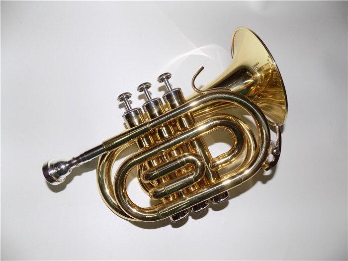 Bb Brass Taschentrompete 125mm Bell Lack mit Etui und Mundstück Professionelle Musikinstrumente