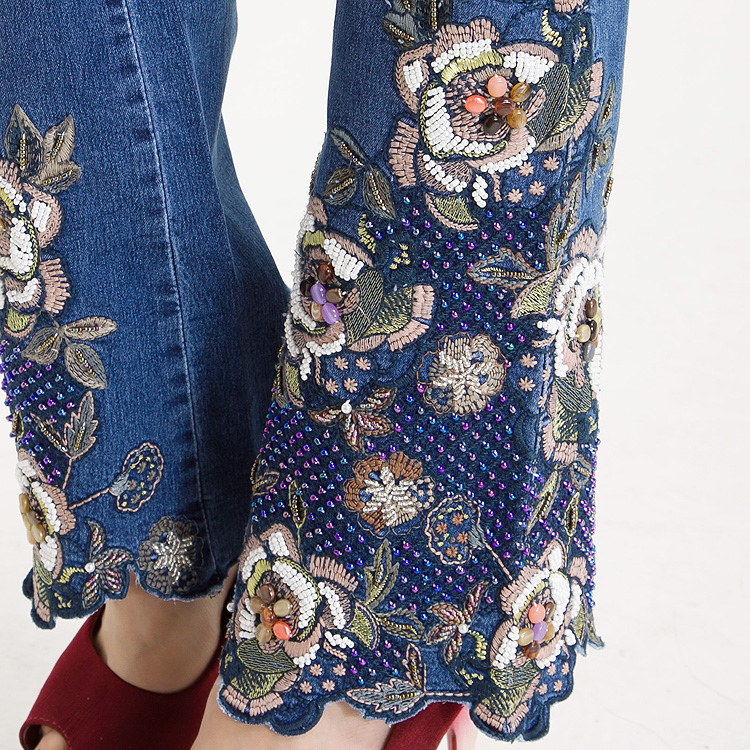 KSTUN Famous Brand Women's Jeans with Embroidery Hand Beaded Flared Pants Denim Stretch Boot Cut Luxurious Elegant Female Trousers 36 17