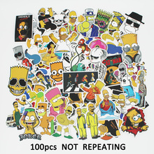100 Pcs Simpson Stickers for Laptop Motorcycle Car Styling Luggage Skateboard Bike Accessories Vinyl Decals Waterproof Sticker