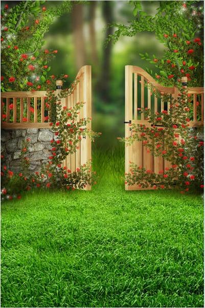 8x12ft Green Garden Flowers Branch Gate Screen Door Grass Lawn