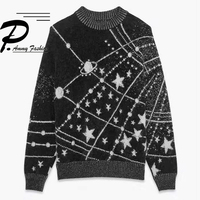 2018 Fashion Fur Sweater Women Lady Fall winter soft Long sleeve Cashmere Pullover chic Starry Sky jumper knitting Tops