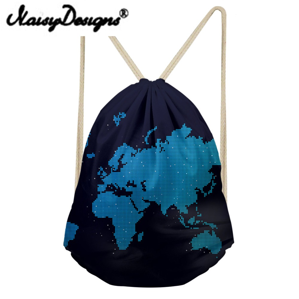 NOISYDESIGNS 3D World Map Printing Drawstring Backpack School Shopper Bags For Women Mini Soft Back For Kids Day Pack Mochila