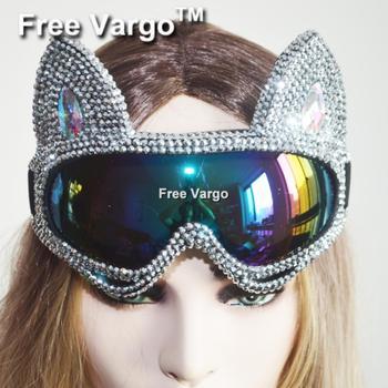 Голографическая Серебряная маска горящего кота со стразами, маска для косплея, кибер-очки, сценический костюм для диджея, EDC Rave