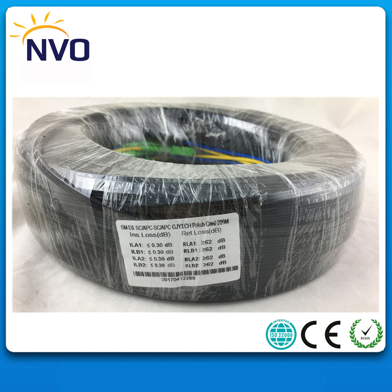 200M Outdoor FTTH Fiber Optic Drop Cable Patch Cord SC/APC to SC/APC Duplex SM G657A2 LSZH 2cores GJYXCH Drop Cable Patch Cord