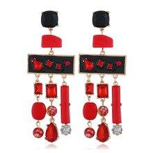 Ajojewel New Arrival Geometric Crystal Tassel Earrings 2019 Long Drop Statement Earrings For Women Drop Shipping цена в Москве и Питере