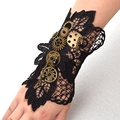 1pc Steampunk Gears Wrist Cuff Retro Black Victorian Bracelet Costume Accessory