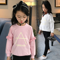 2017 spring and autumn hot fashion children's cotton T-shirt girls 4-11 printed letters A lotus leaf shirt bottoming shirt