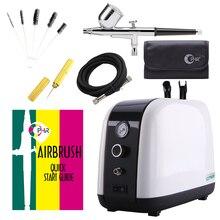 OPHIR Airbrush Kit Con Compressore Daria A doppia Azione di Bellezza Per La Cura Del Viso Hobby Spray Air Brush Set Macchina di Cura Della Pelle AC057 +