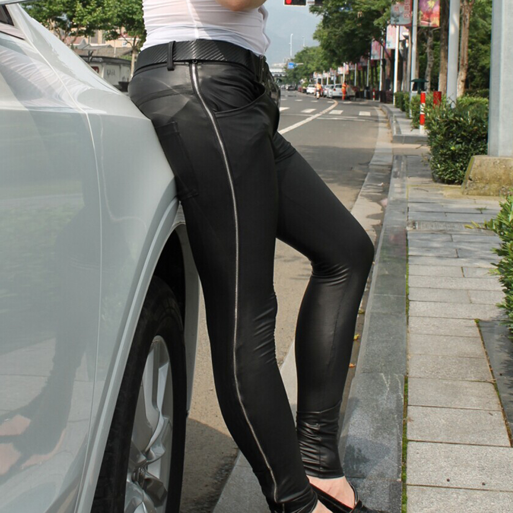New Sexy Men Faux Leather Matte Pencil Pants Casual Leggings Slim Fit Tight Zipper Erotic Lingerie