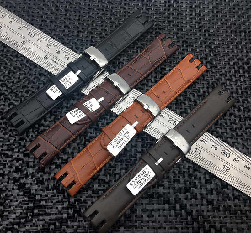 Bamboo Pattern Strap Genuine Leather Watchstrap Pin Clasp Bracelets for Swatch YRS403 401 402G 412 413 418  Watches Accessories