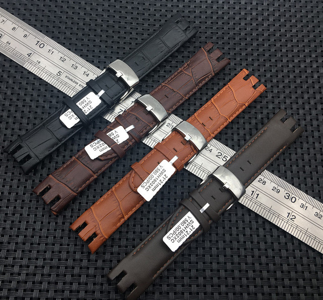 Bamboo Pattern Strap Genuine Leather Watchstrap Pin Clasp Bracelets for Swatch Y