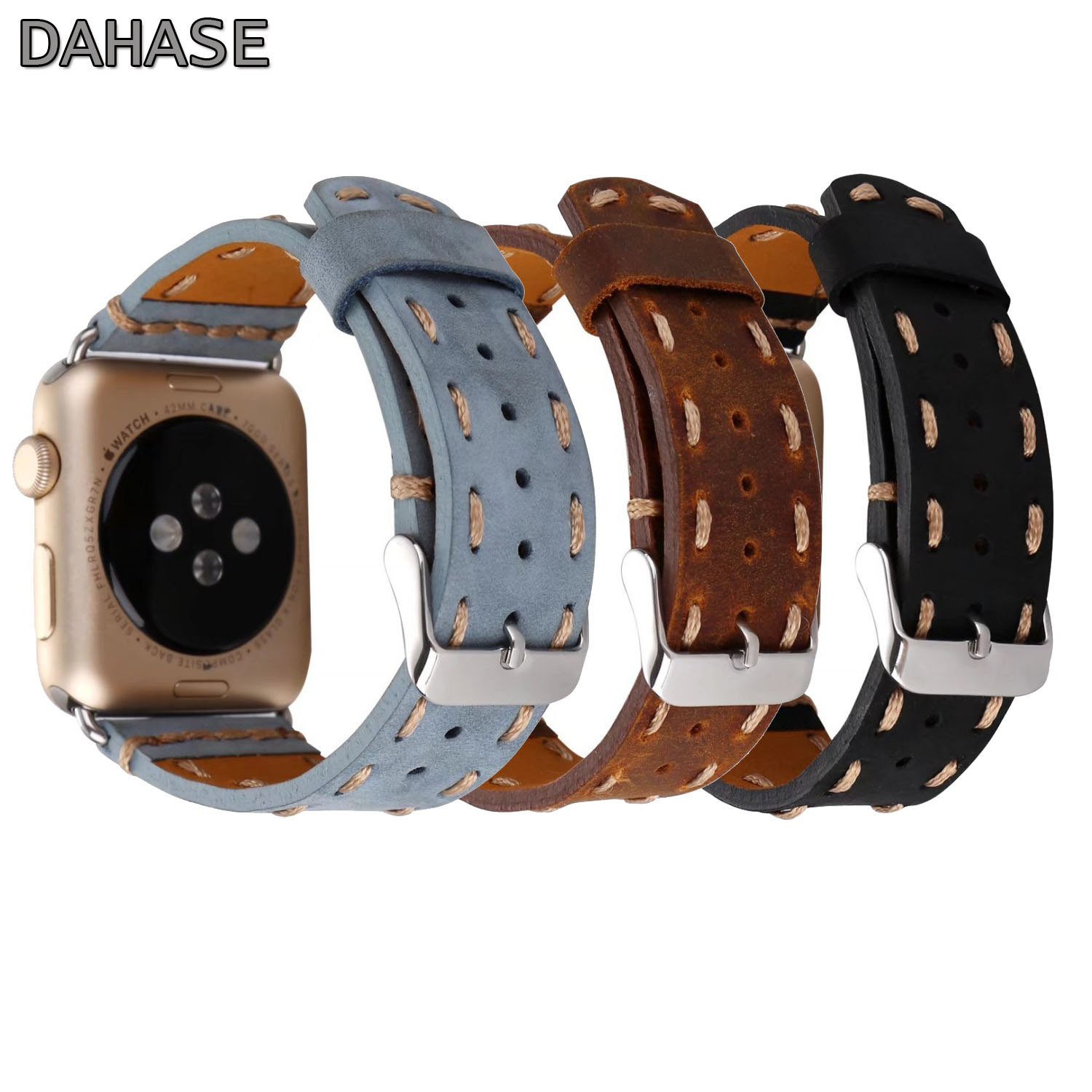 Vintage Handmade Genuine Leather Watch Band for Apple Watch Series 1/2/3/4 Strap Thread Bracelet for iWatch 38/42mm 40/44mm Band for apple watch series 4 iwatch band real carbon fiber watch straps for apple watch series 1 2 3 leahter bracelet 38 42 40 44mm