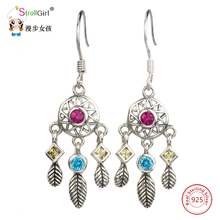 StrollGirl 925 Sterling Silver Drop Earrings Dreamcatcher Indian Totem Tassel Hook Earrings 2017 Fashion Jewelry For Women Gift