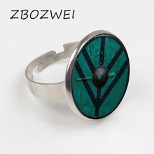 ZBOZWEI 2018 new arrived the Vikings Ring The shield of Lagertha Ring jewelry Cothic Glass Cabochon Ring amulet Gifts(China)