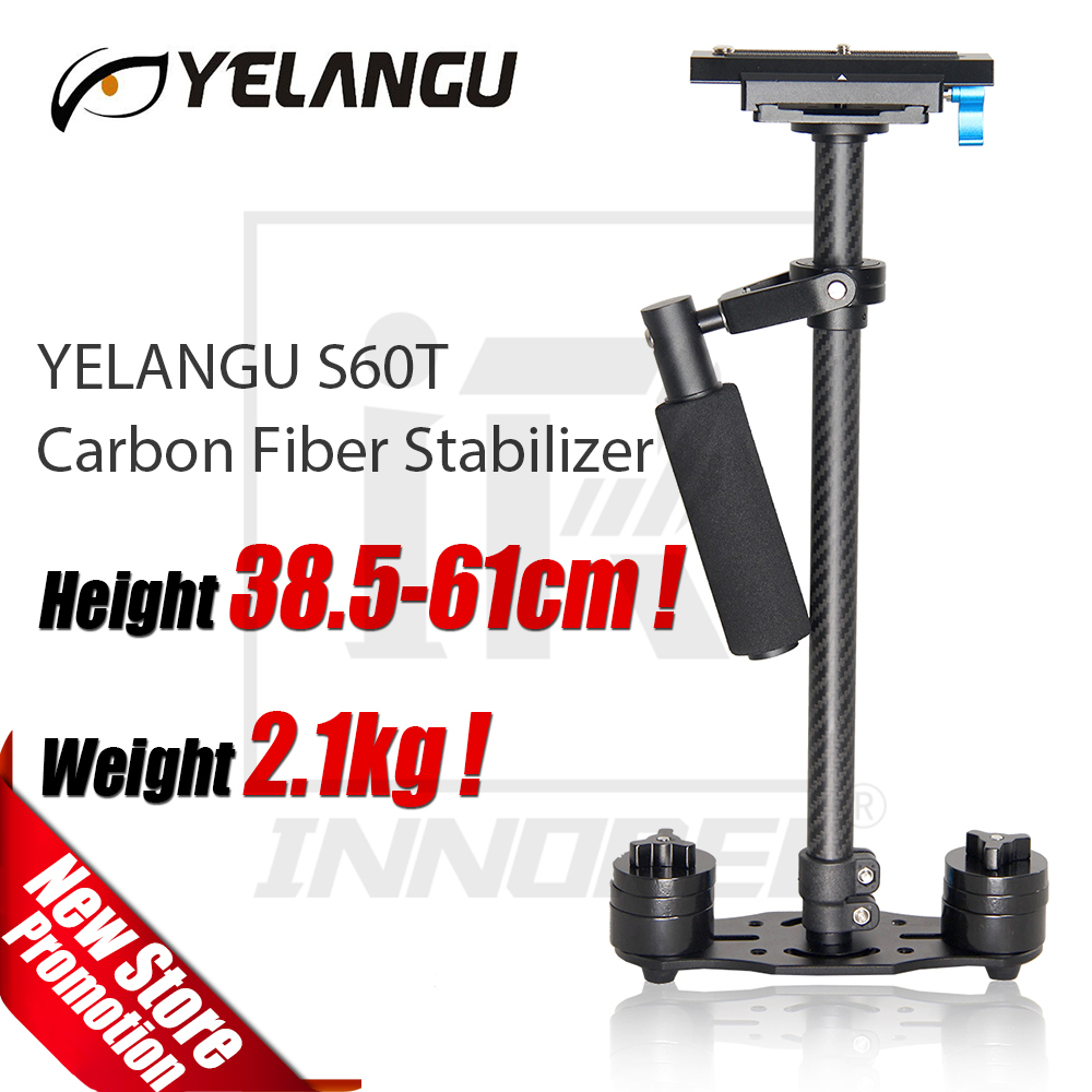 YELANGU Carbon Fiber S60T Professional Portable Mini Handheld Camera Stabilizer DSLR Camcorder Video Steadicam Better than S60 yelangu s40t professional carbon fiber handheld stabilizer steadicam for canon dslr camera dv camcorder sports camera