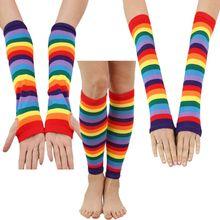 63adc504742f0 Women Girls Rainbow Striped Long Sleeve Sunscreen Arm Sleeve Fingerless  Mittens Gloves Slim Thigh High Leg