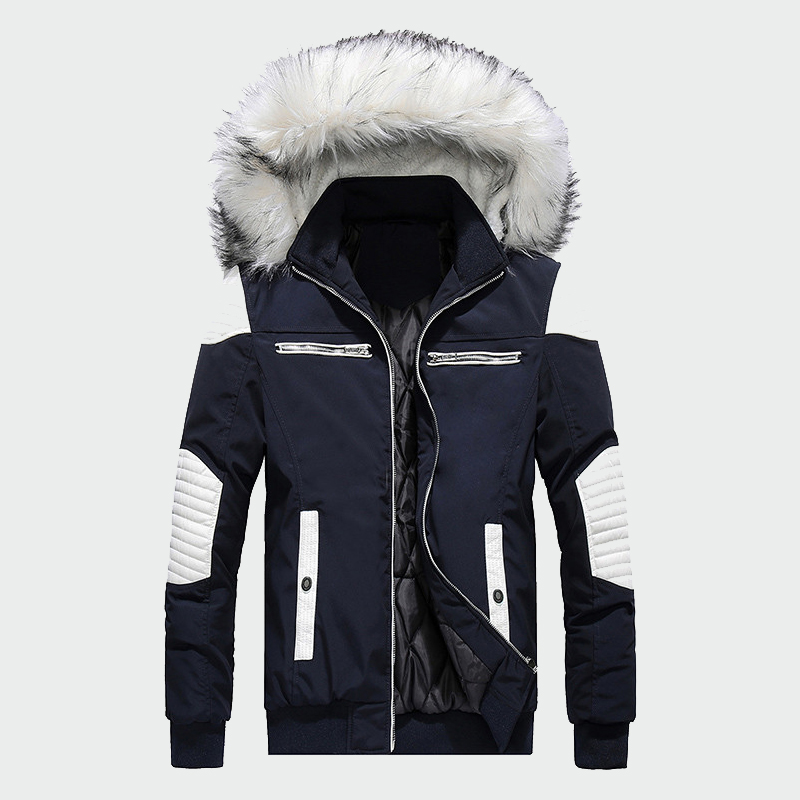 Winter Men's New Coat Fur Hooded Patchwork Thick Zipper Jackets Male Casual   Parkas   Fashion Warm Coats Mens Brand Clothing ML202