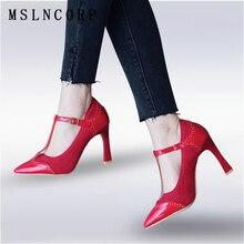 купить Size 34-48 Sexy Fashion High Heels Shoes Women Pumps Ankle T Strap buckle Patchwork Elegant Wedding Shoes Stiletto zapatos mujer дешево
