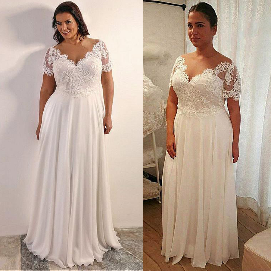 Chiffon A-line Plus Size Wedding Dress With Beaded Lace Appliques Short Sleeves Lace Up Back 28W Size Bridal Dresses