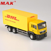 Diecast Truck 1:64 Scale Express DHL Truck Model Yellow Container Transporter Kids Toys Collection Gift cat caterpillar ct660 dump truck yellow 1 50 model by diecast masters 85290
