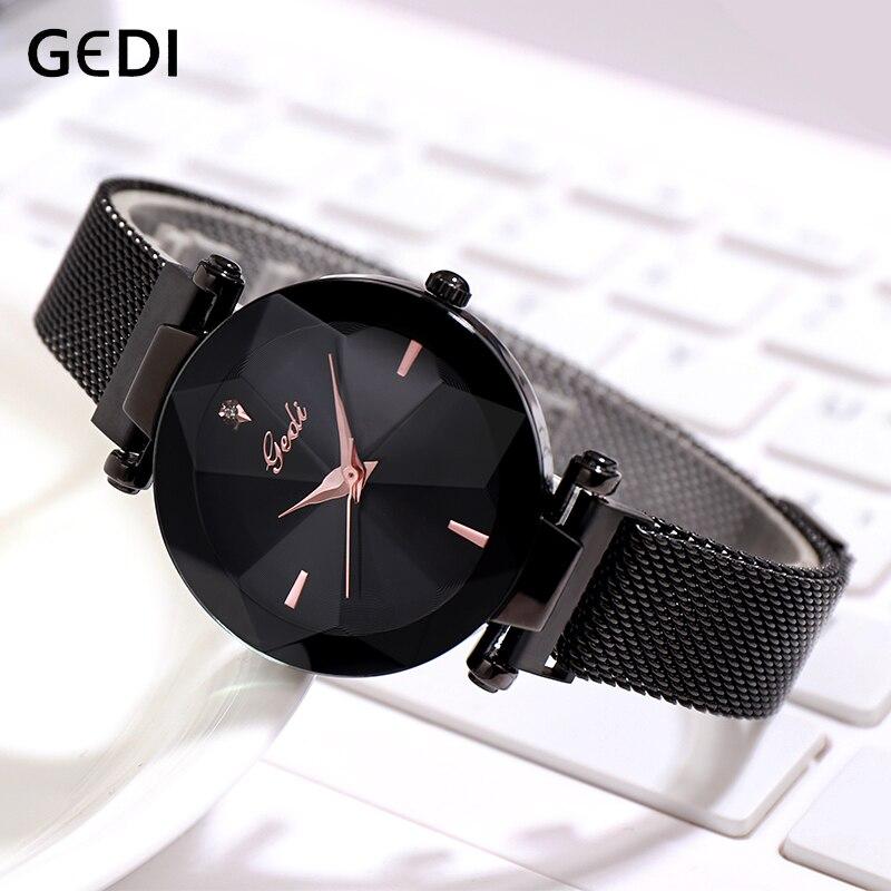 GEDI Magnet Mesh Belt Ladies Wrist Watches Elegant Quartz Female Watch Fashion Waterproof Clock Women New Brand reloj mujer 2019