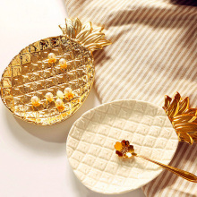Creative Gold Pineapple Ceramic Storage Tray Golden Jewelry Pallet Food Dry Fruit Plate Home Decoration