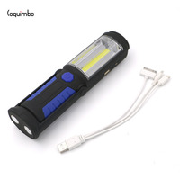 COB Light Strip 1 LED Super Bright Flashlight With Magnet 2 Modes Built In Rechargeable Battery