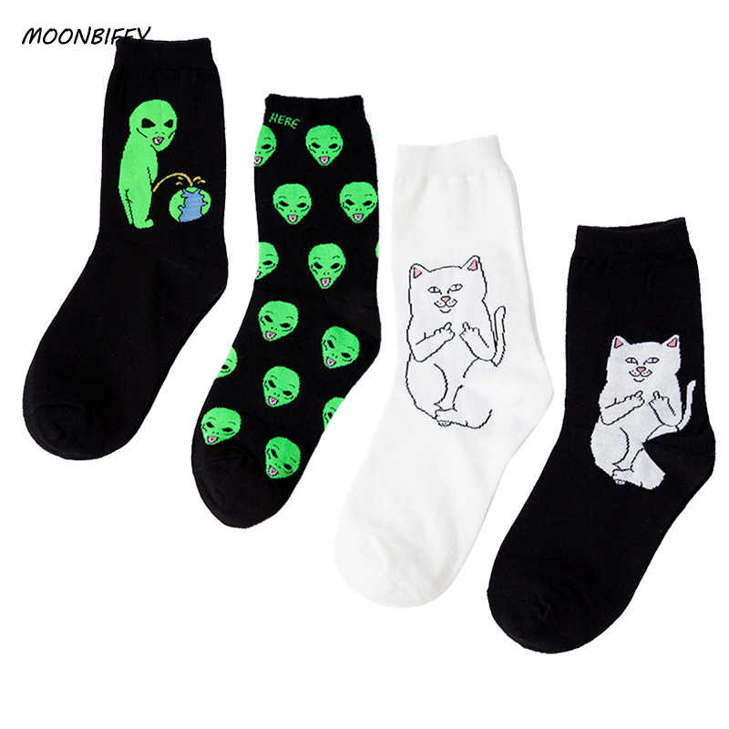 MOONBIFFY Fashion Unisex Cartoon Cat Art Funny Alien Planet Comfortable Autumn Winter Creative Warm Cotton Halloween Party Socks