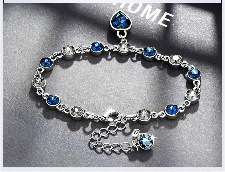 HTB1NWfTmRjTBKNjSZFDq6zVgVXa9 925 Sterling Silver Sapphire Bracelet For Women Romantic Heart-shaped Blue jewelry pulseira feminina kehribar bizuteria Bracelet